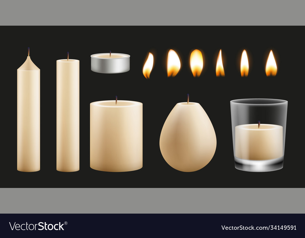 Candles kit design realistic wax base