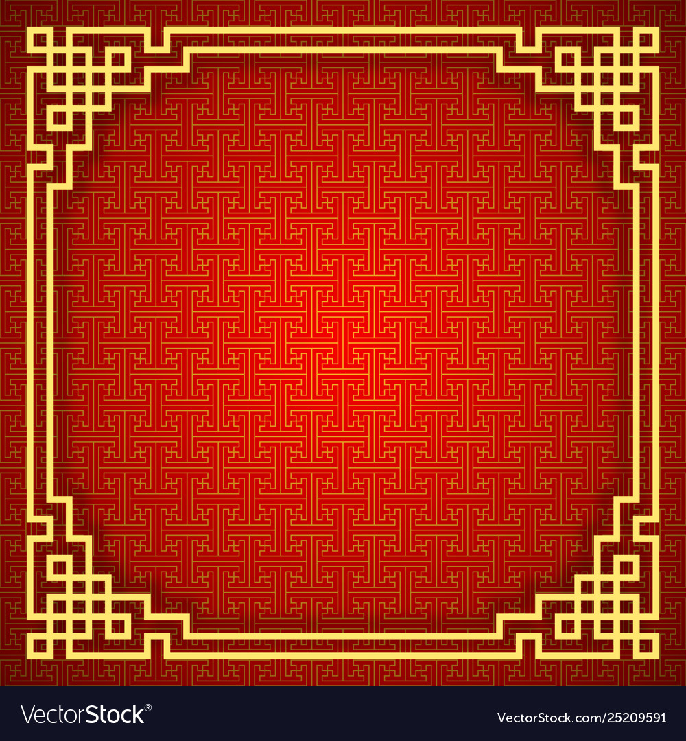 Chinese seamless pattern with frame and shadow