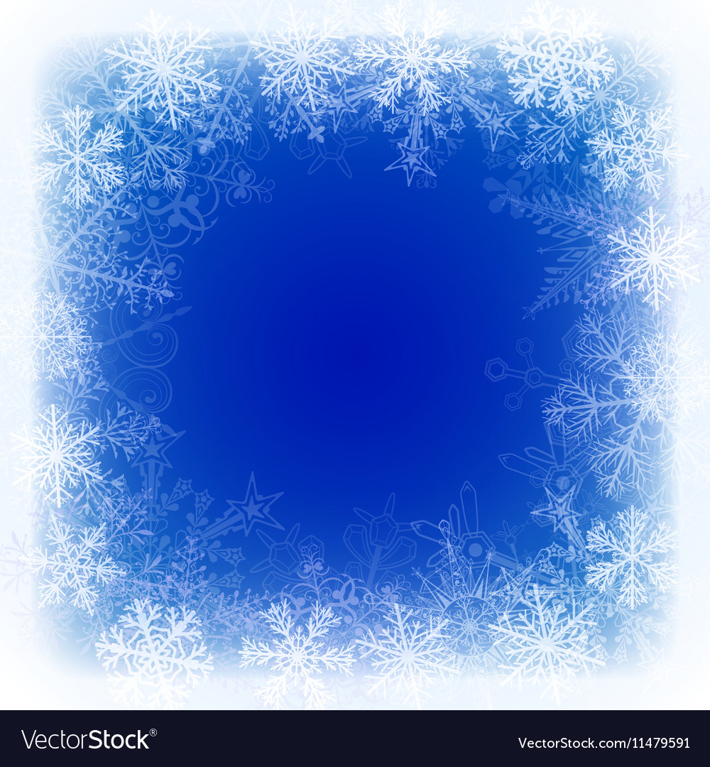 Christmas background with frame of snowflake vector image