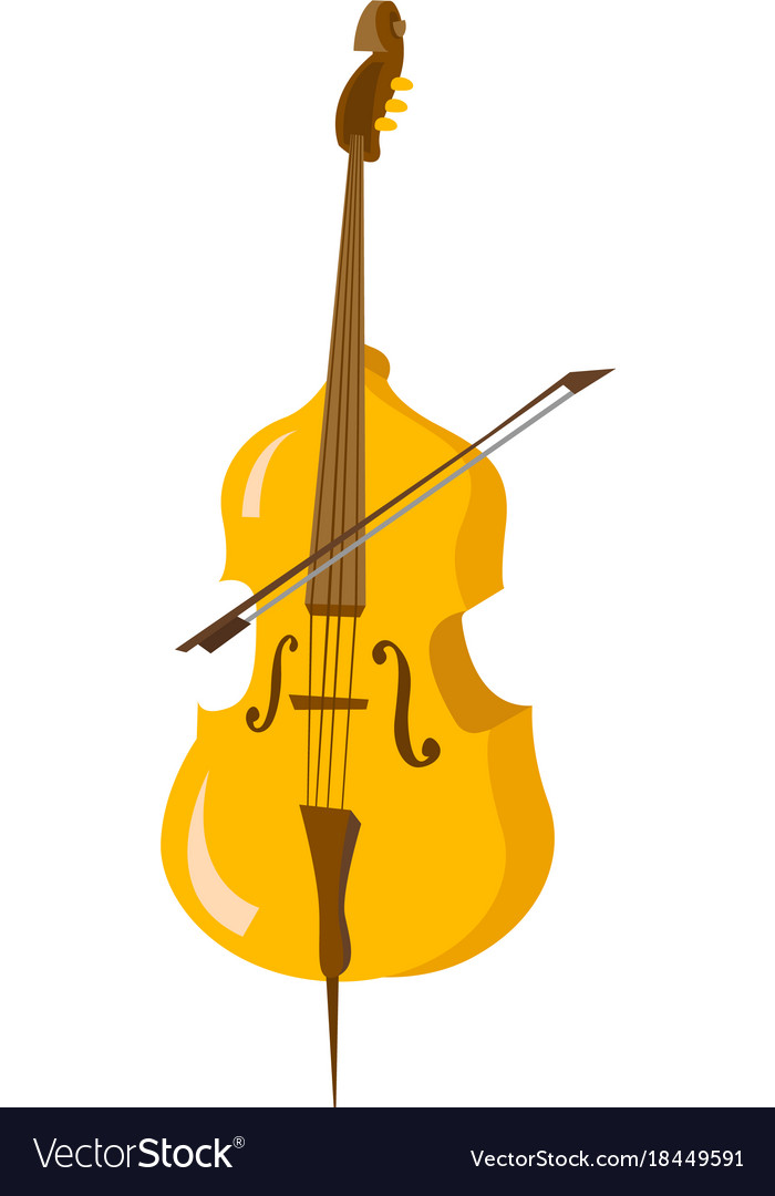 Classic cello with bow cartoon vector image