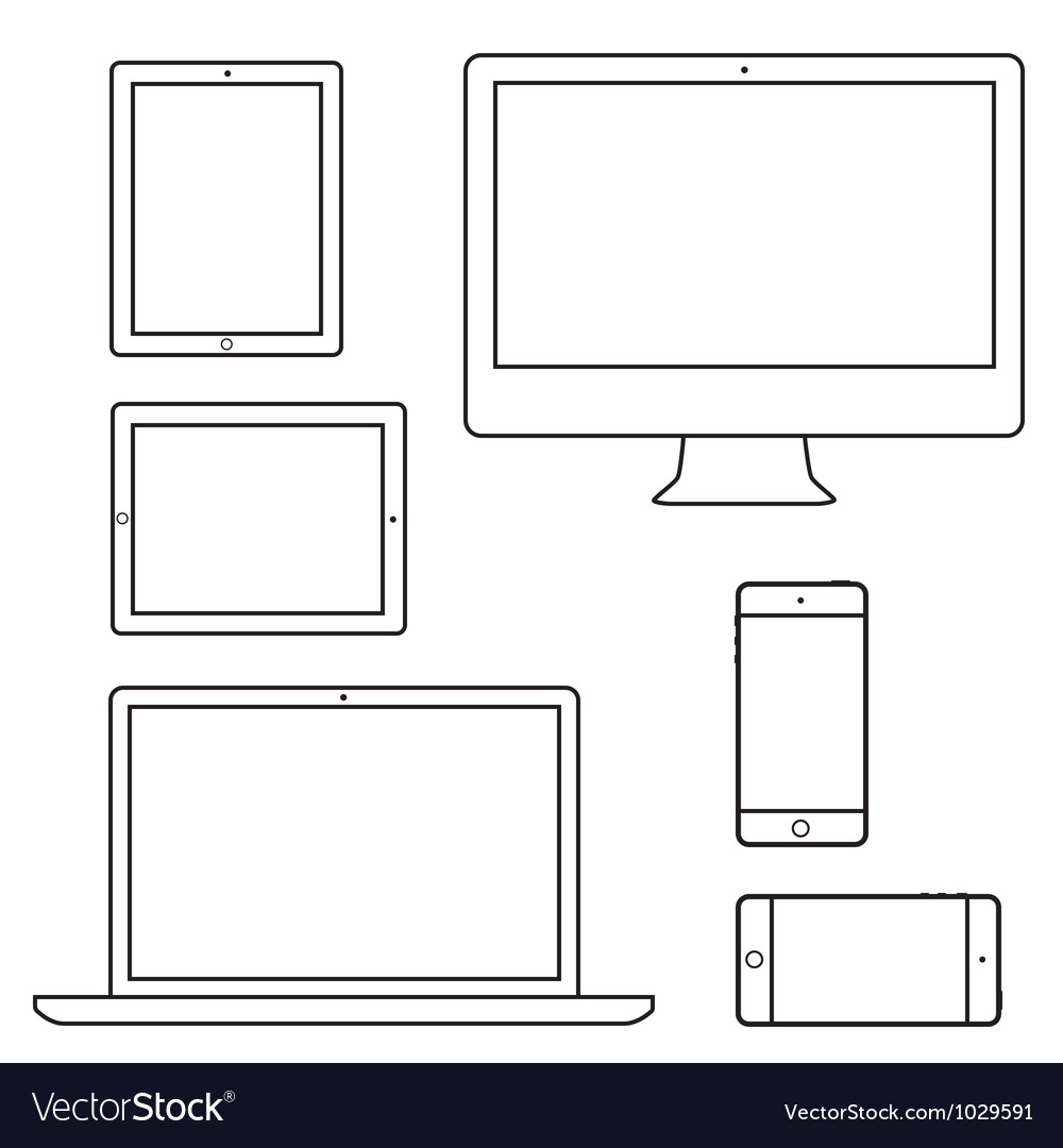Computer laptop tablet phone isolated outlines