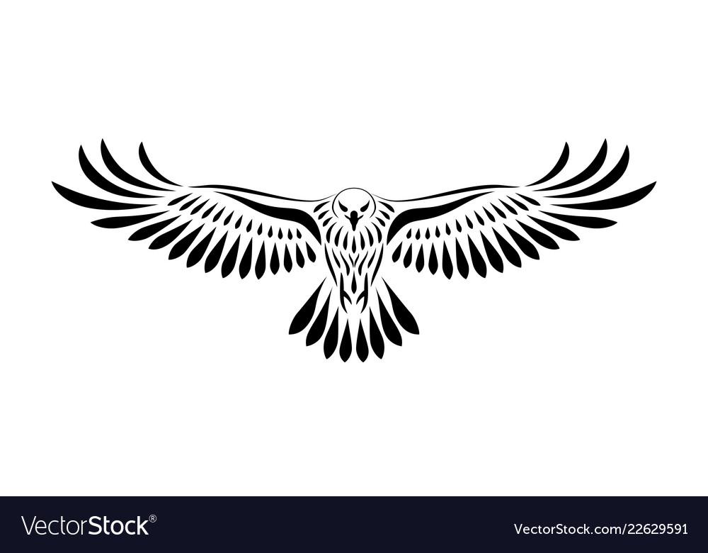 Engraving of stylized hawk on white background