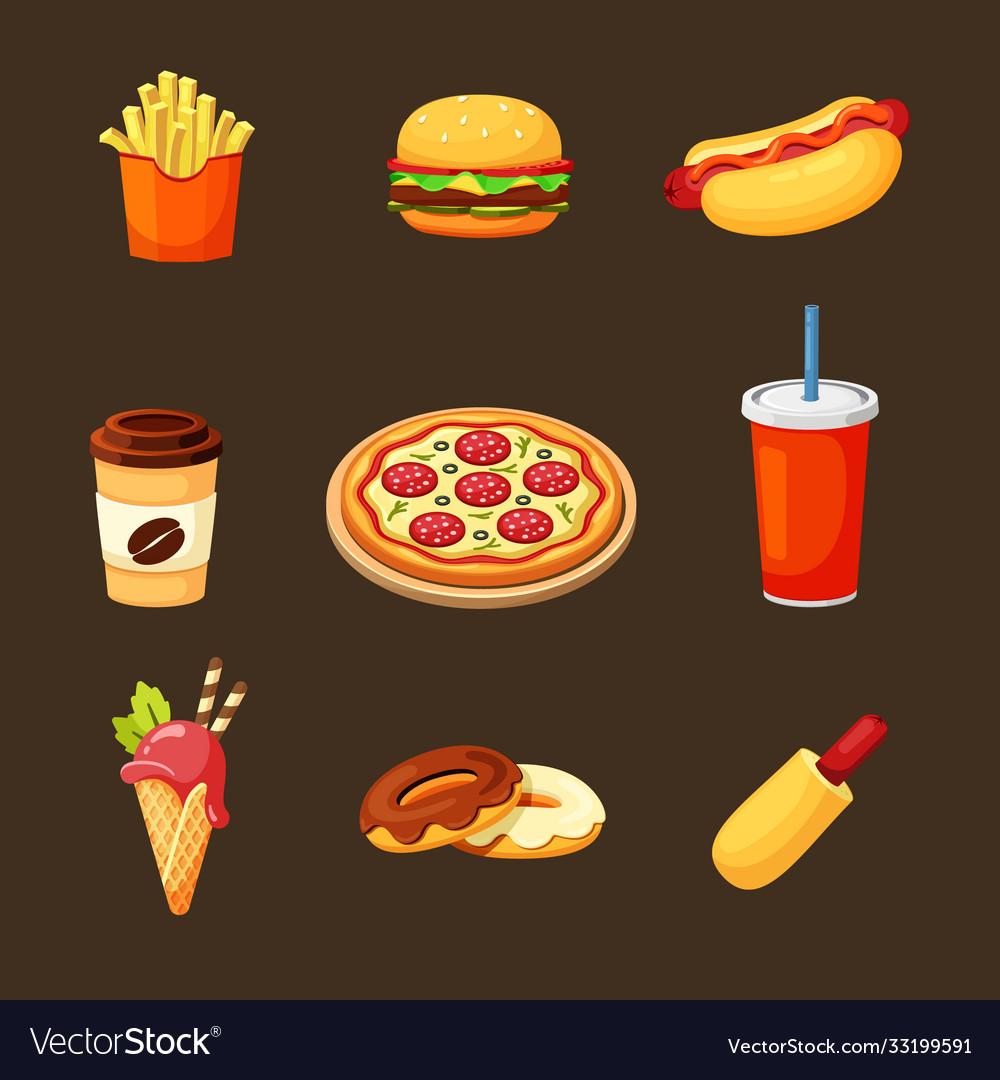 Fast food set delicious hot hamburger pepperoni