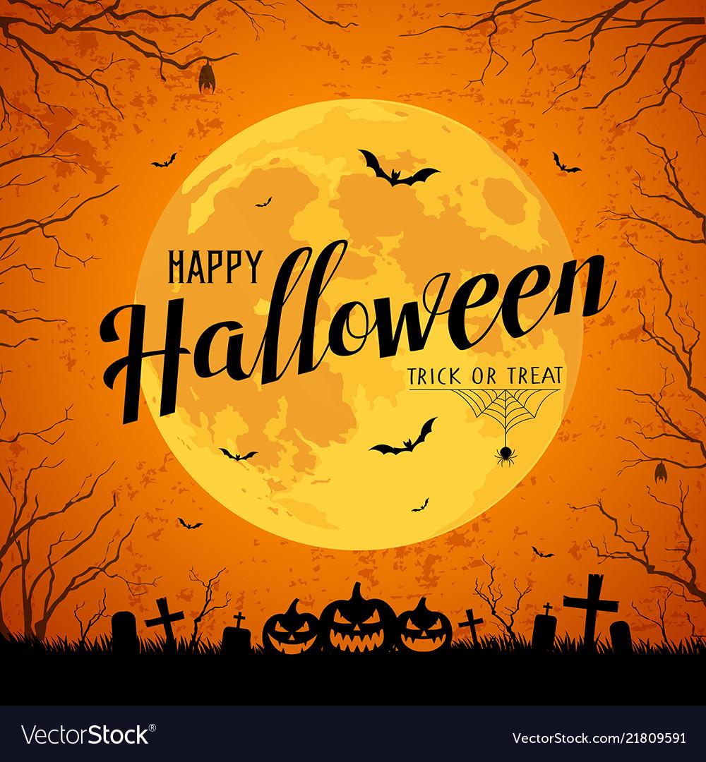 Happy Halloween Message Yellow Full Moon Vector Image
