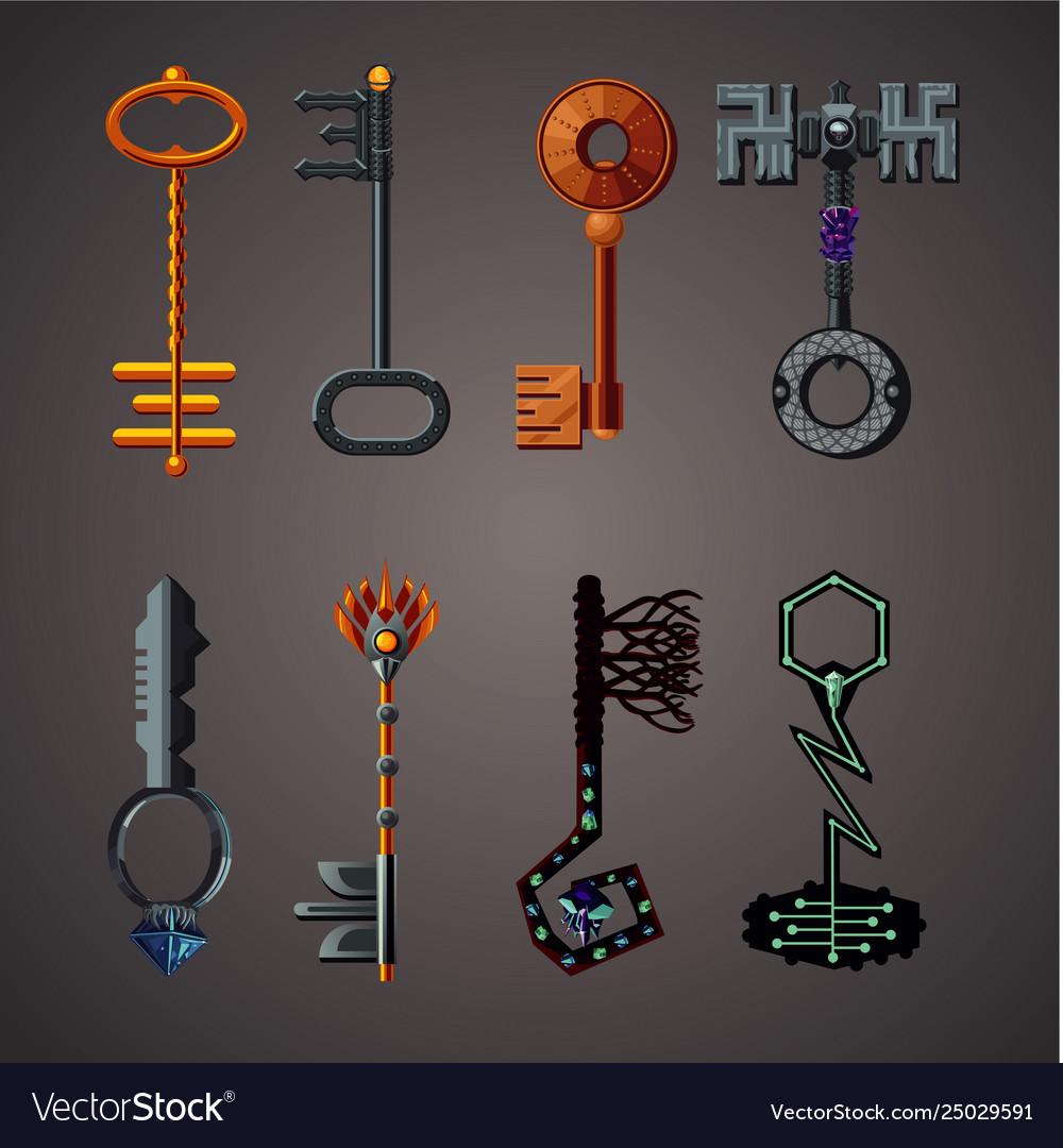 Magic keys fantasy set cartoon icons collection