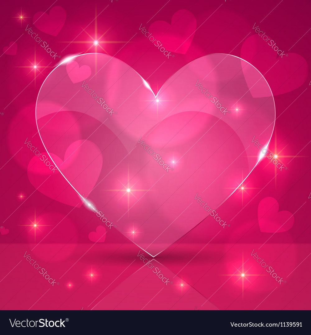 Pink Thin Shining Gl Heart On Lights Background Vector Image