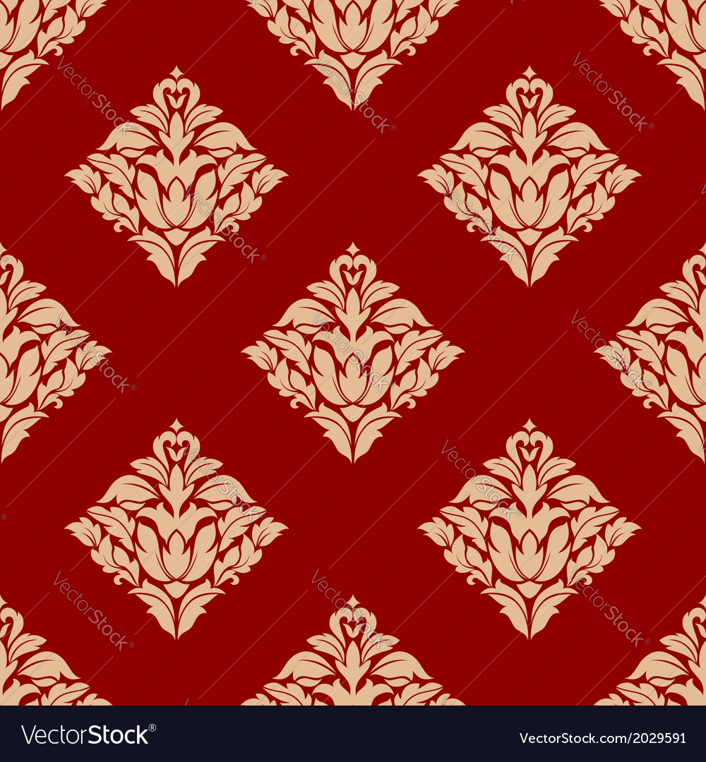 Red and beige arabesque pattern