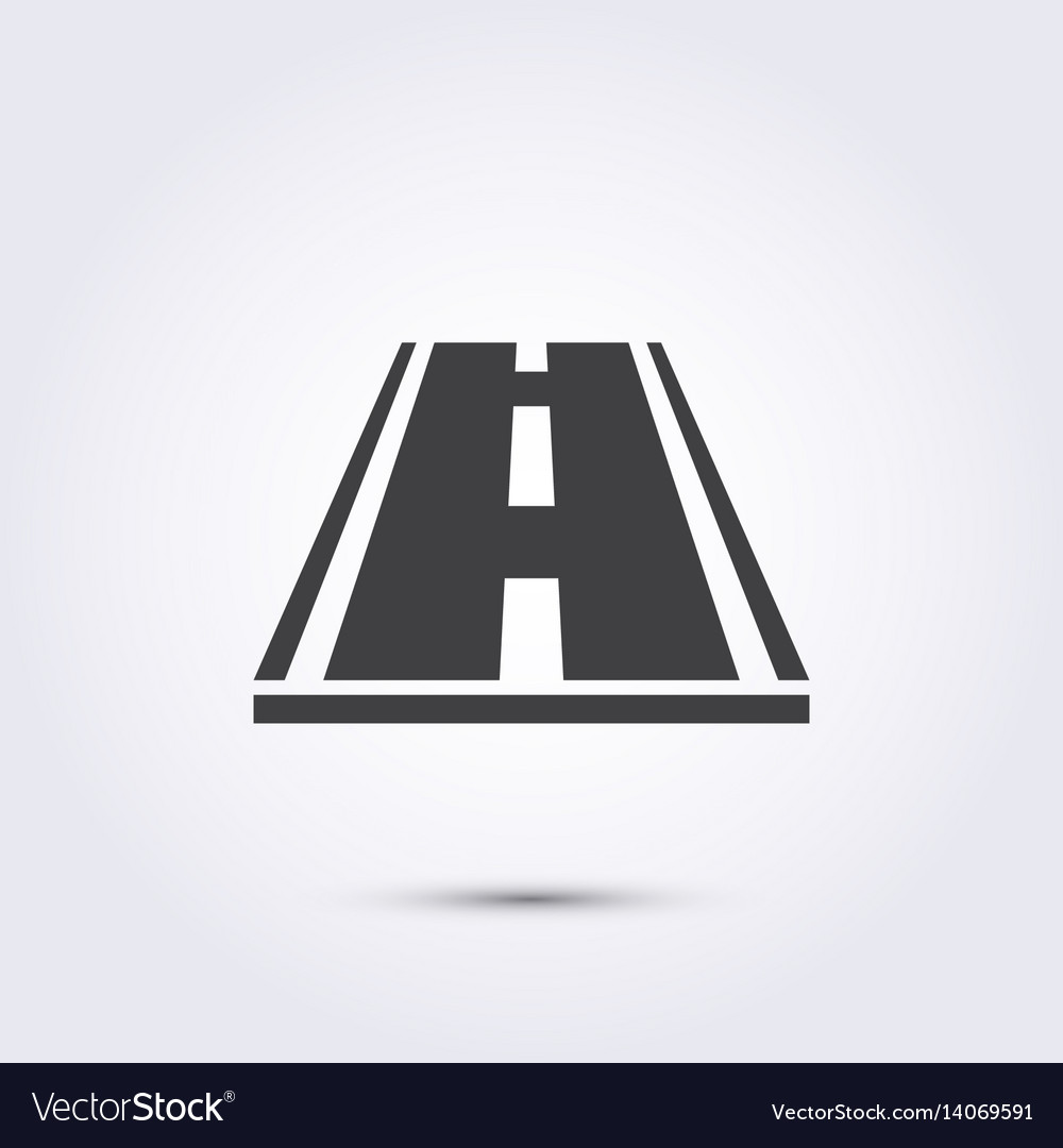 Road icon flat black on a white background