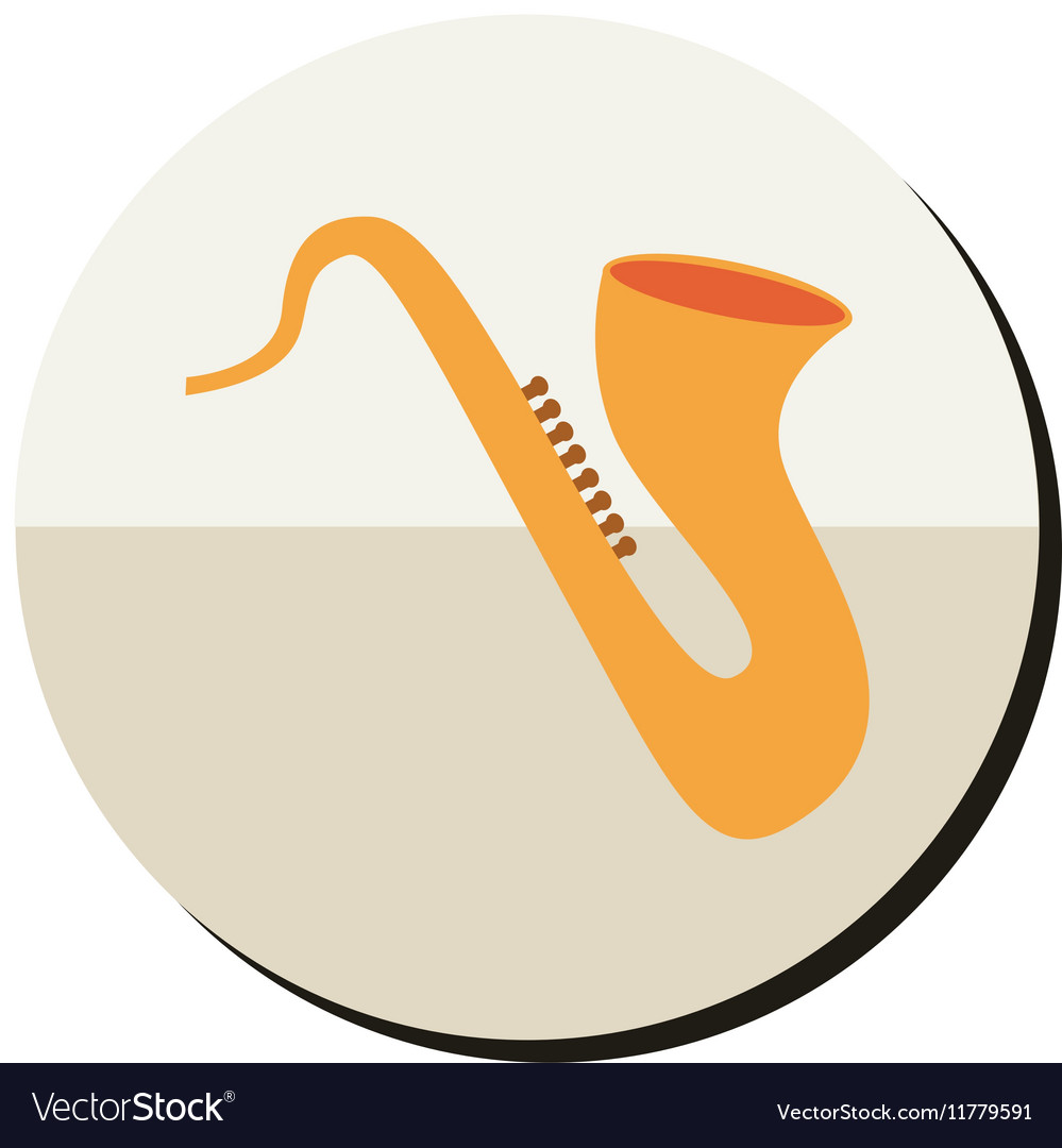 Saxophone silhouette gold in round frame vector image