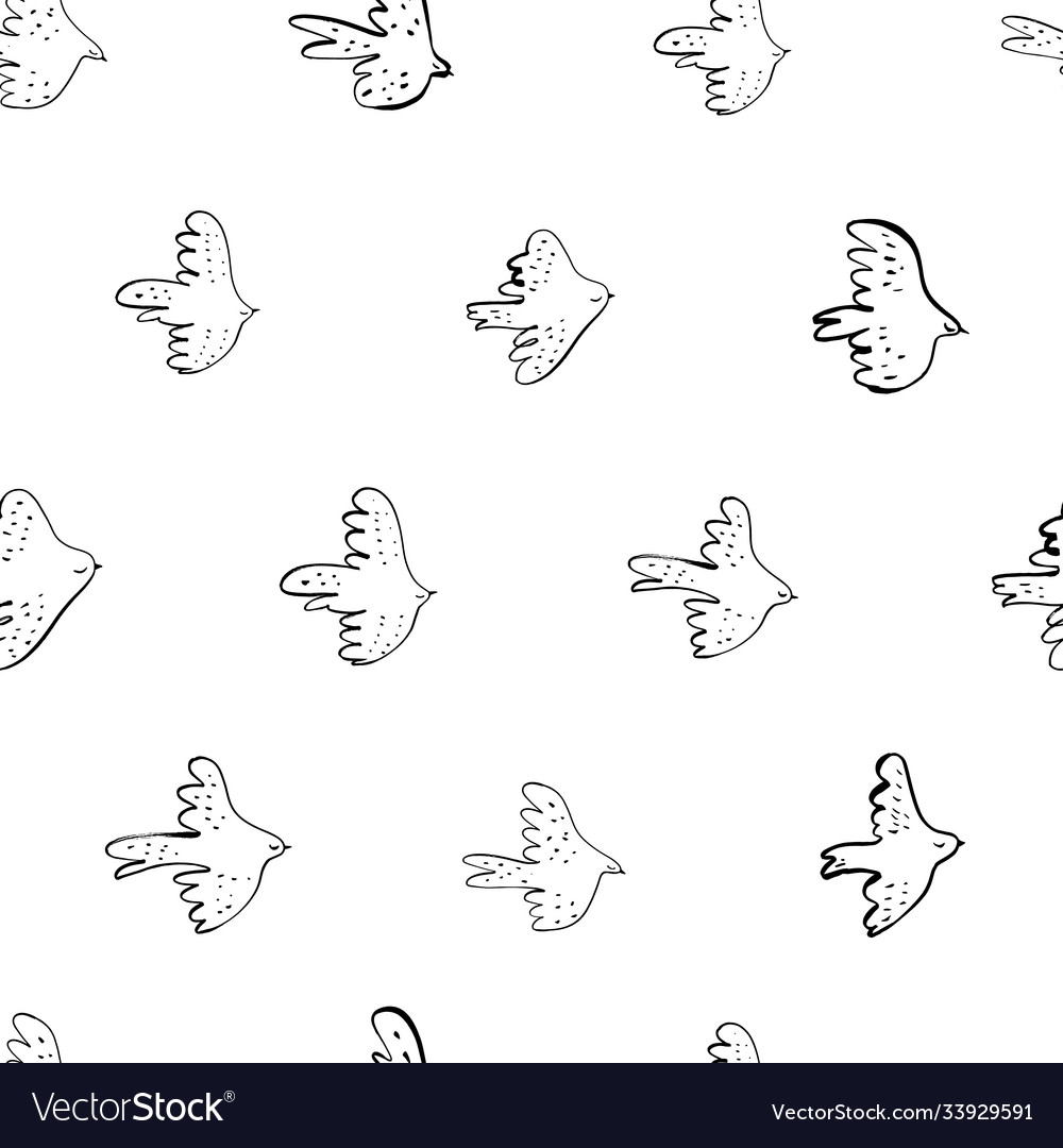 Seamless doodle pattern with black birds