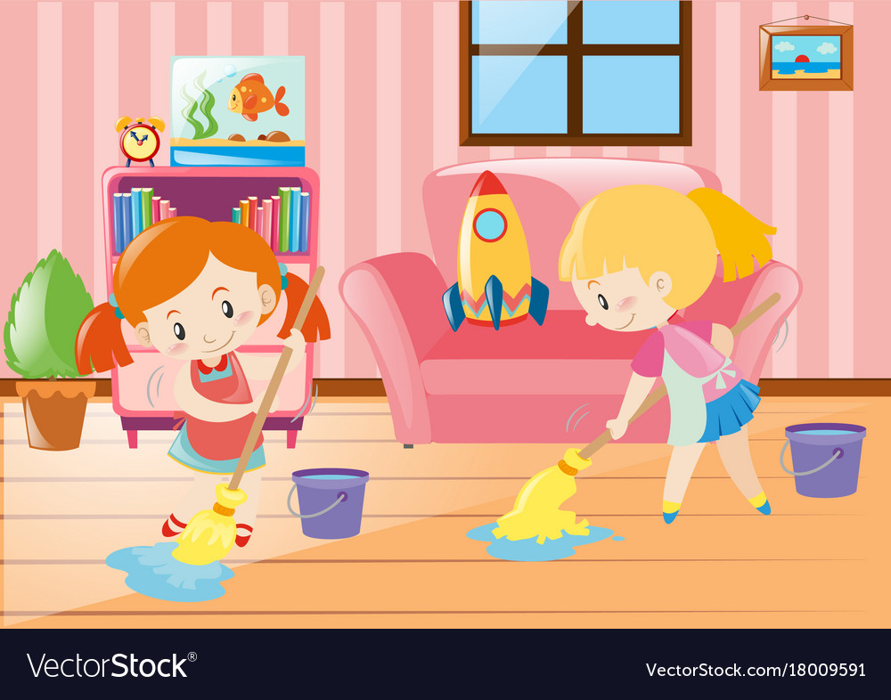 Two girls mopping living room