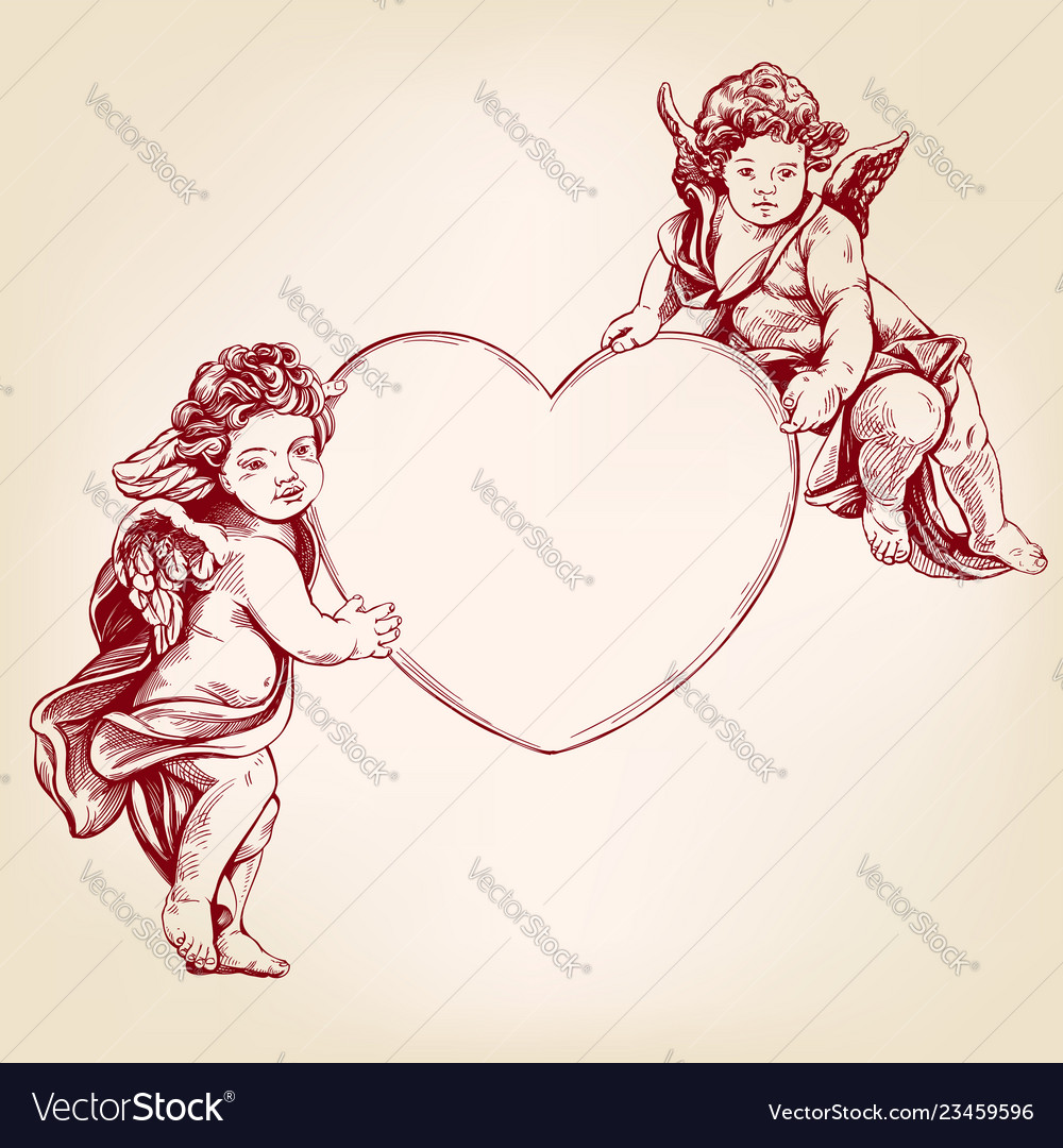 Angels or cupid little baby holds a heart