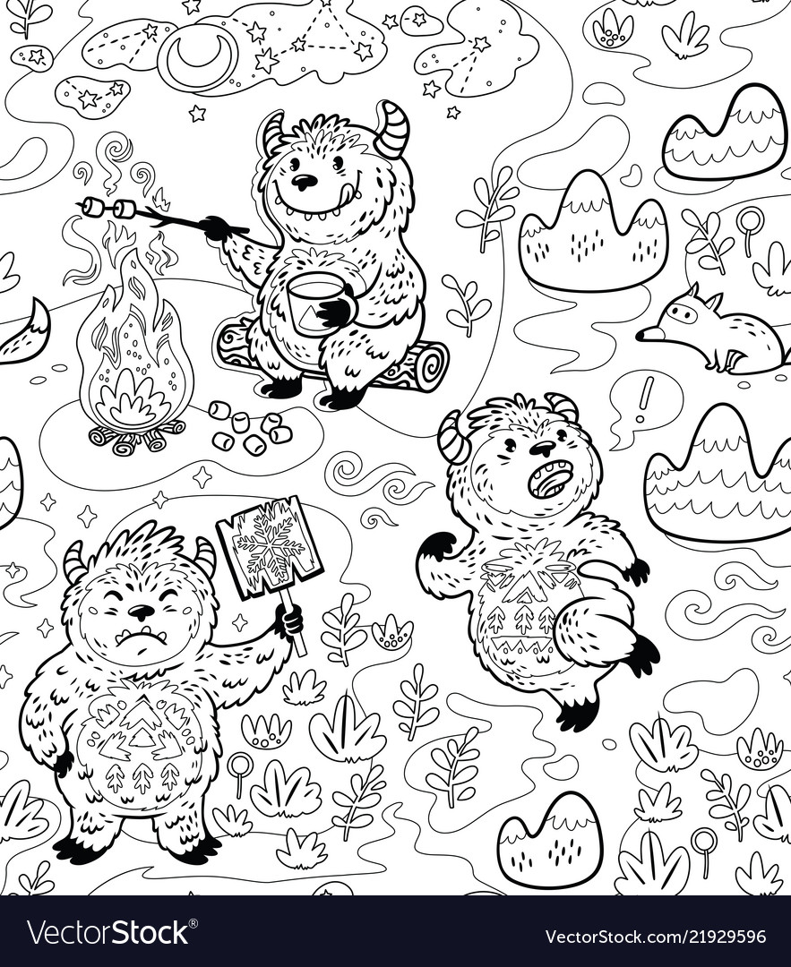 Busy yetie seamless pattern in contour cartoon