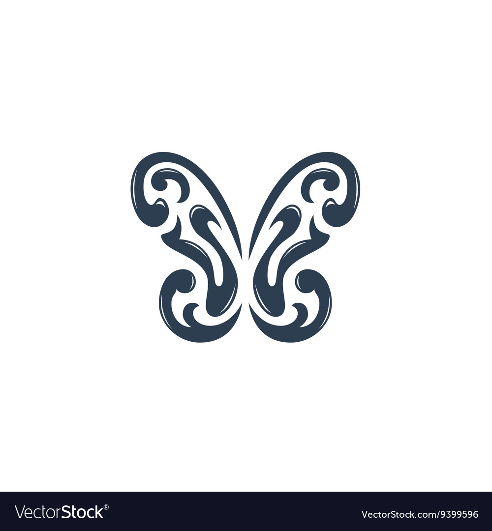 Butterfly logo on white background - stock
