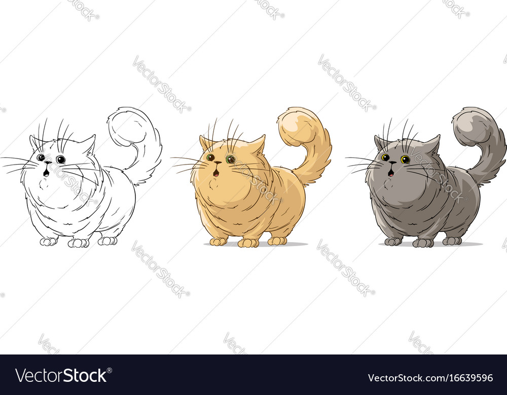 Cartoon cool standing surprised big cat set