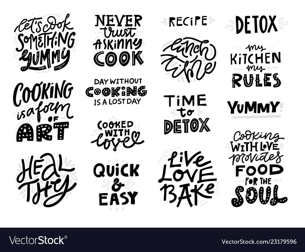 Cooking slogans handwritten black lettering set