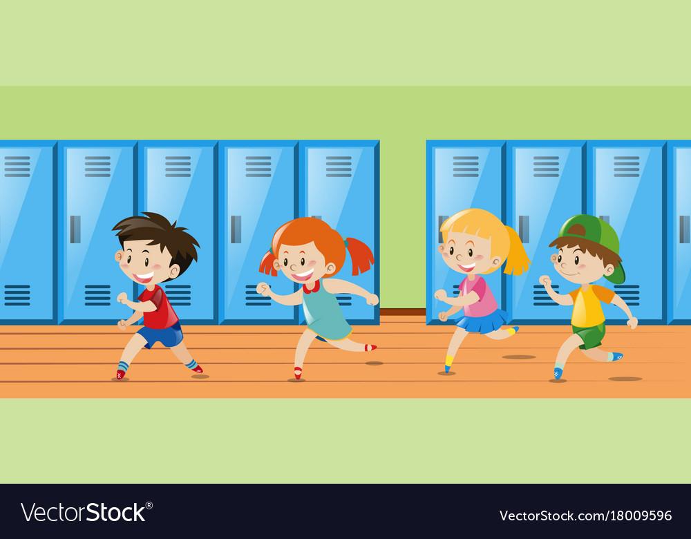 Four Kids Running In Locker Room Vector Image
