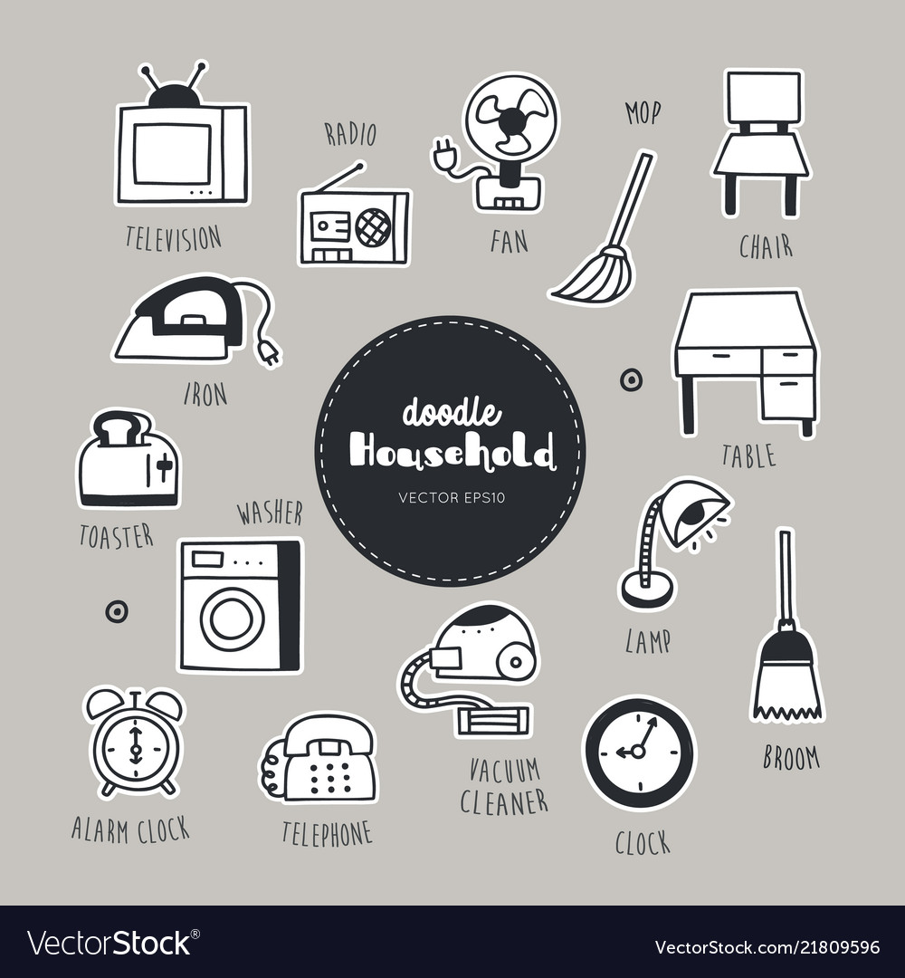 Household dessert hand drawn doodle icons set