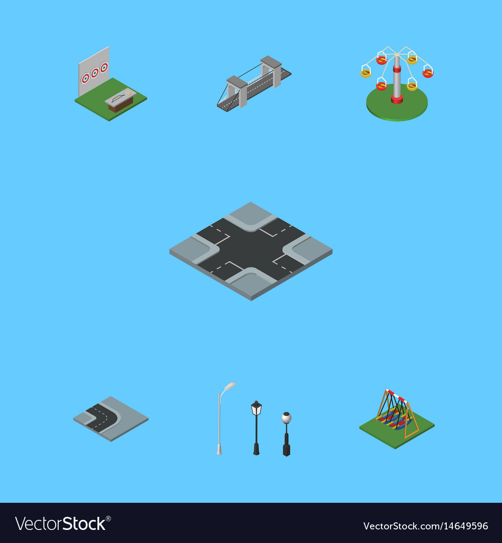 Isometric architecture set of aiming game swing