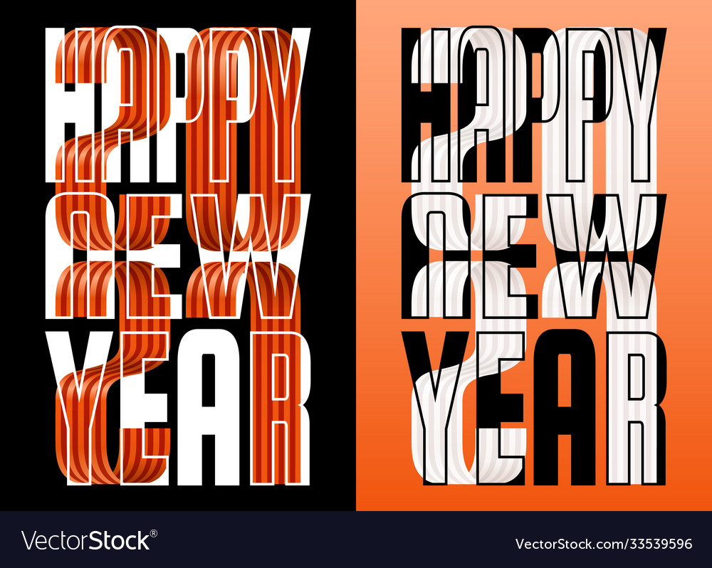 Set 2021 happy new year orange and white ribbon