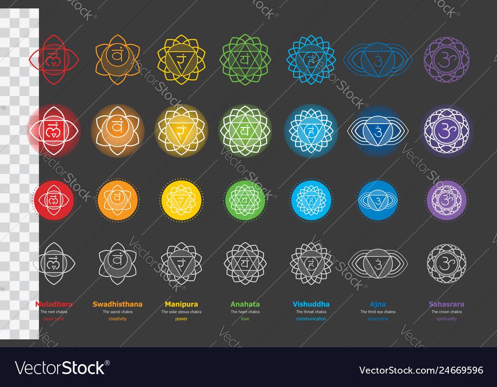 Set of chakras - ayurveda hinduism yoga