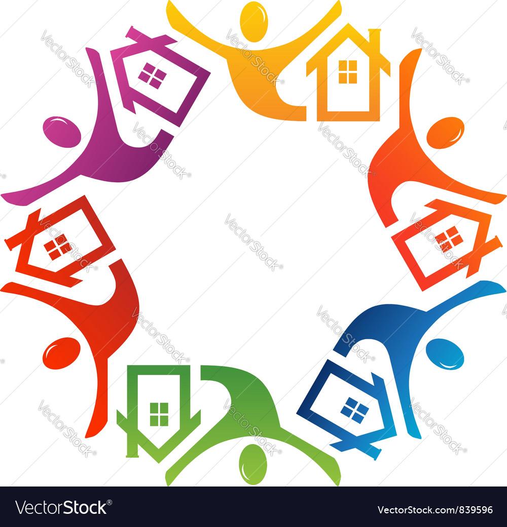 Teamwork people house vector image