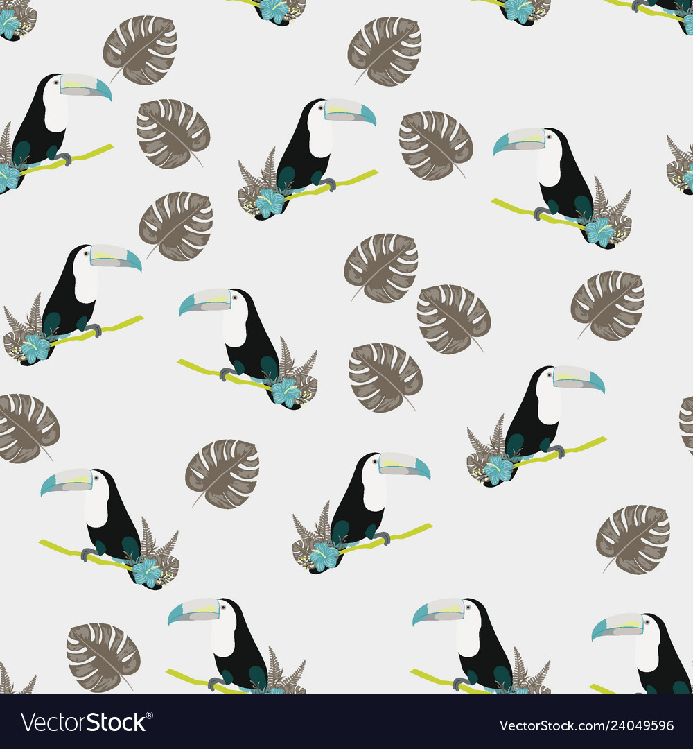 Tropical seamless pattern with toucan flowers