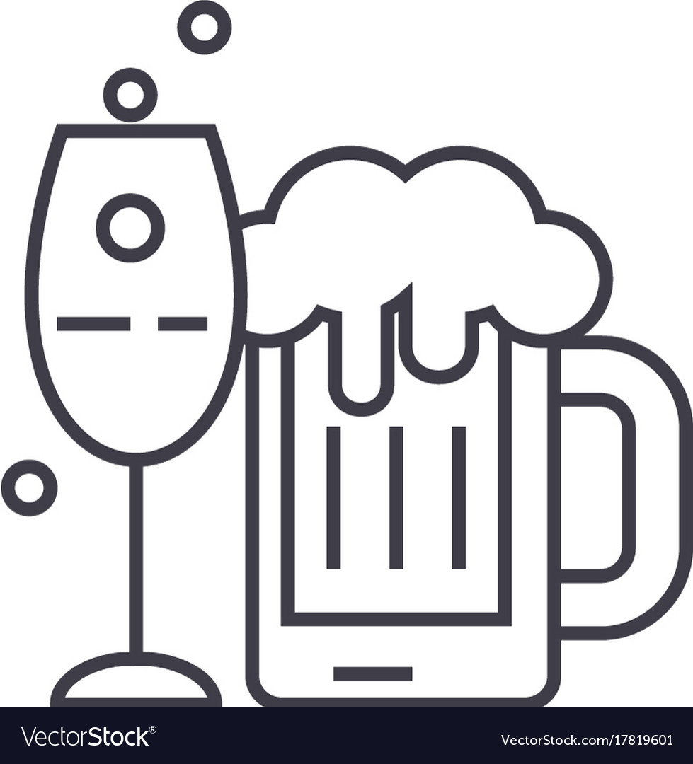 Alcoholic drinks line icon sign