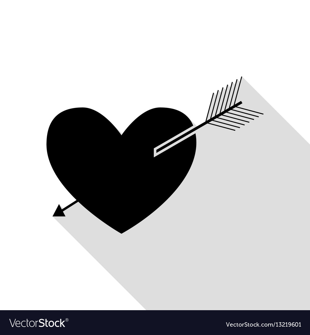 Arrow heart sign black icon with flat style