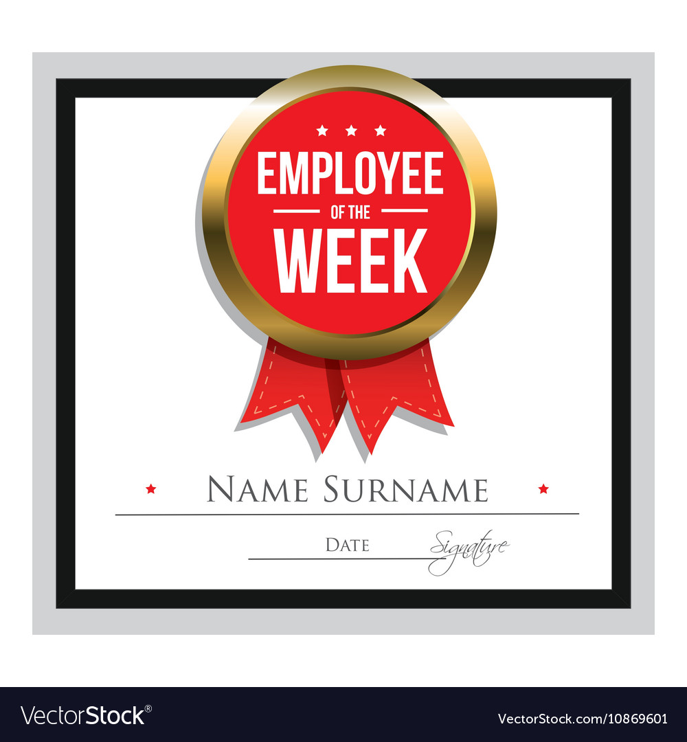 Employee of the week certificate template vector image yelopaper Gallery