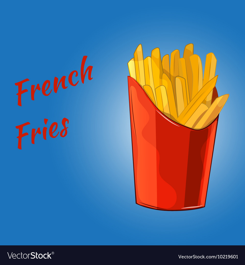 French fries on the blue background