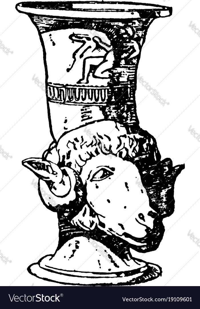 Greek Vase Is A Drinking Horn Often Shaped Vector Image