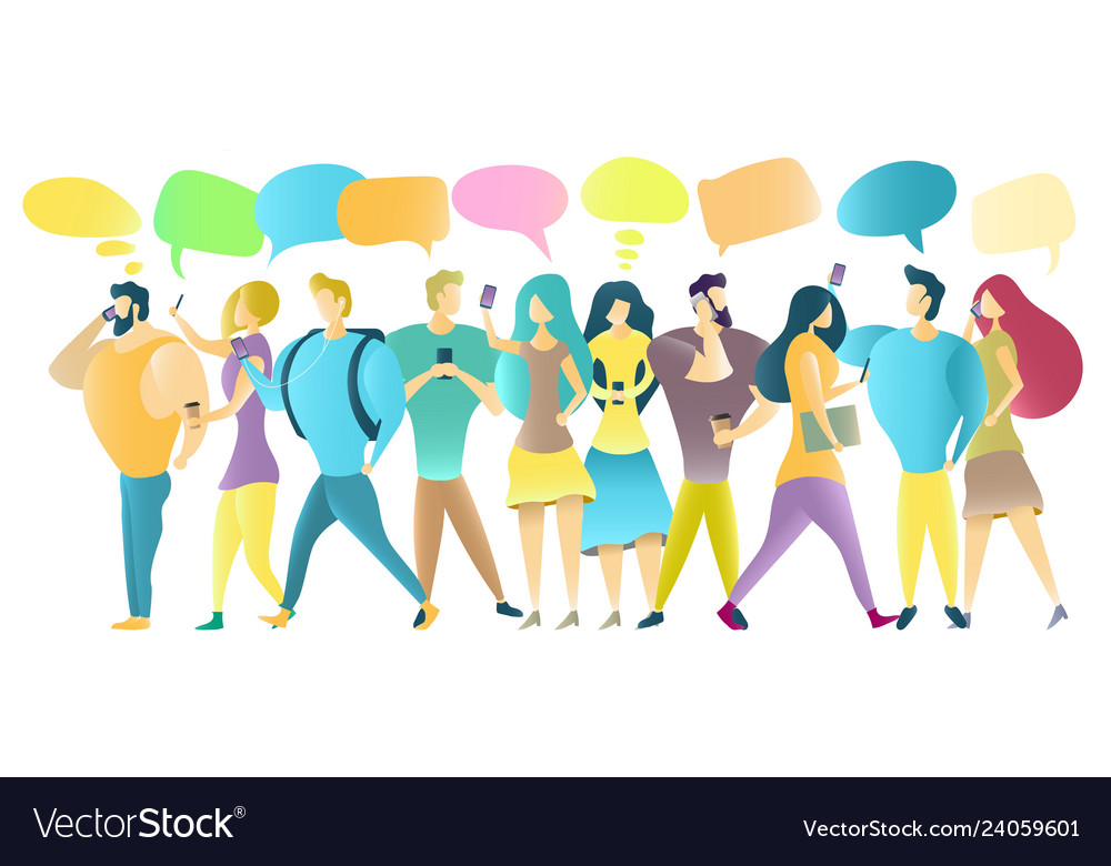 Group of people with mobile phones
