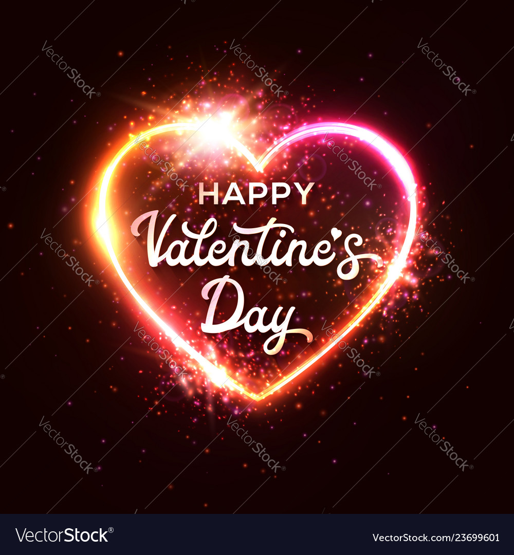 Happy valentine s day greeting card on red heart