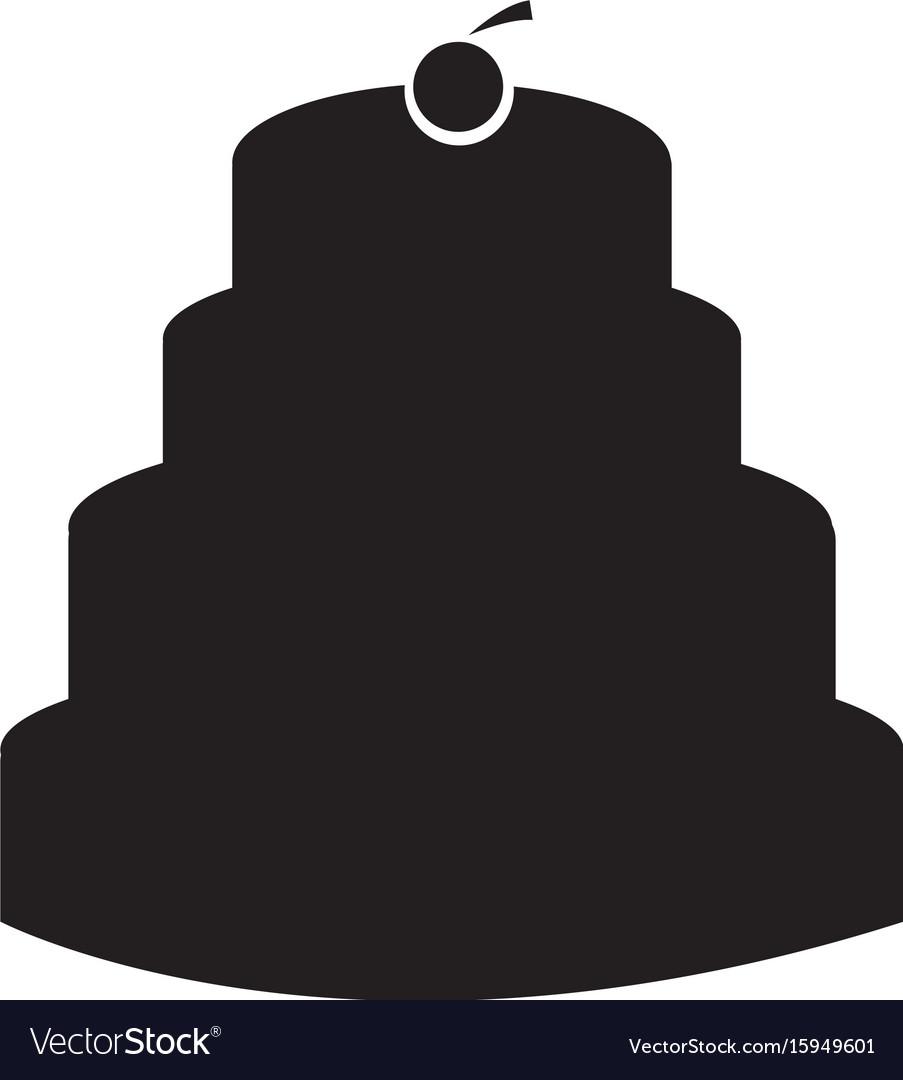 Isolated birthday cake silhouette