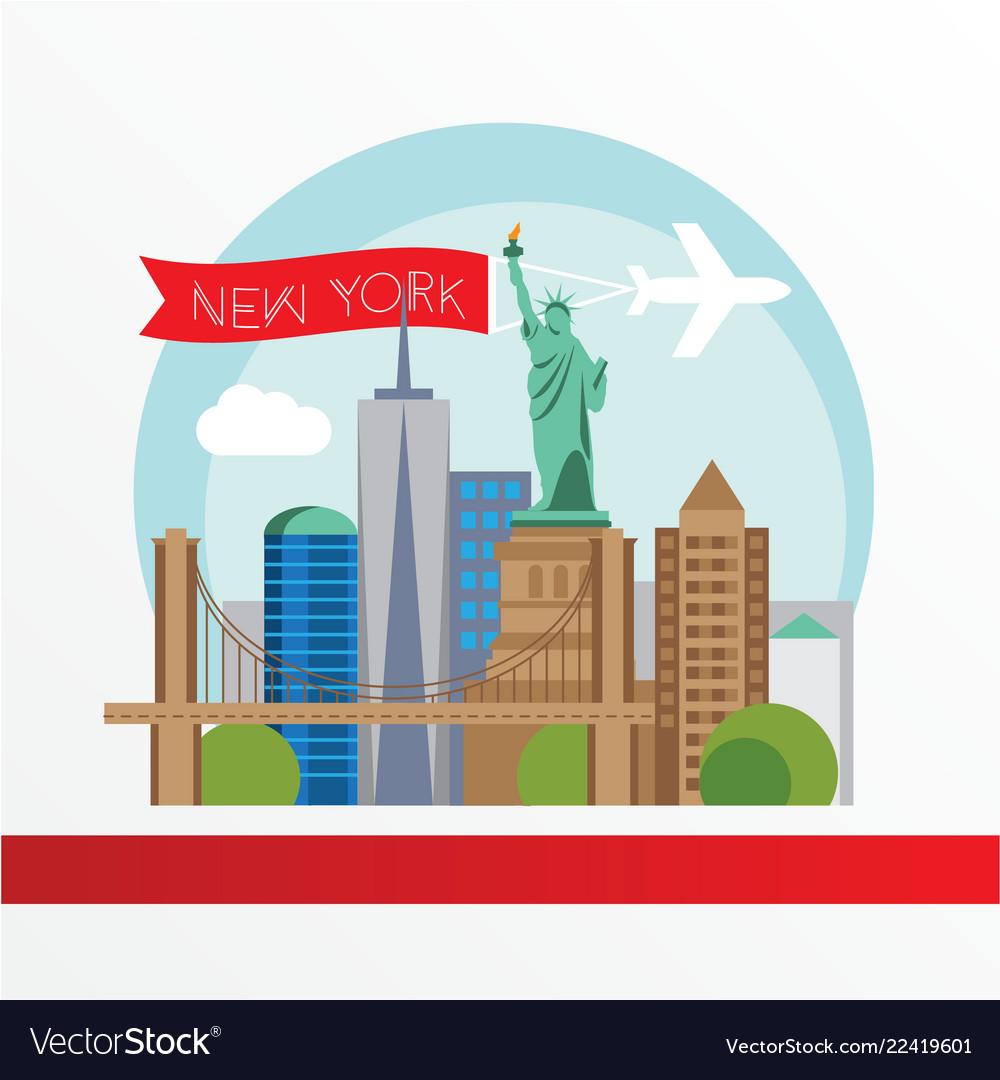 New york detailed silhouette trendy
