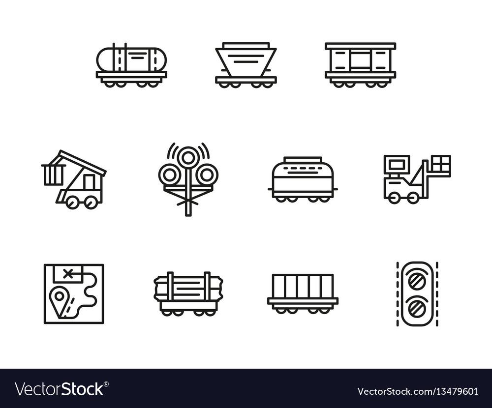 Railroad logistics black line icons set