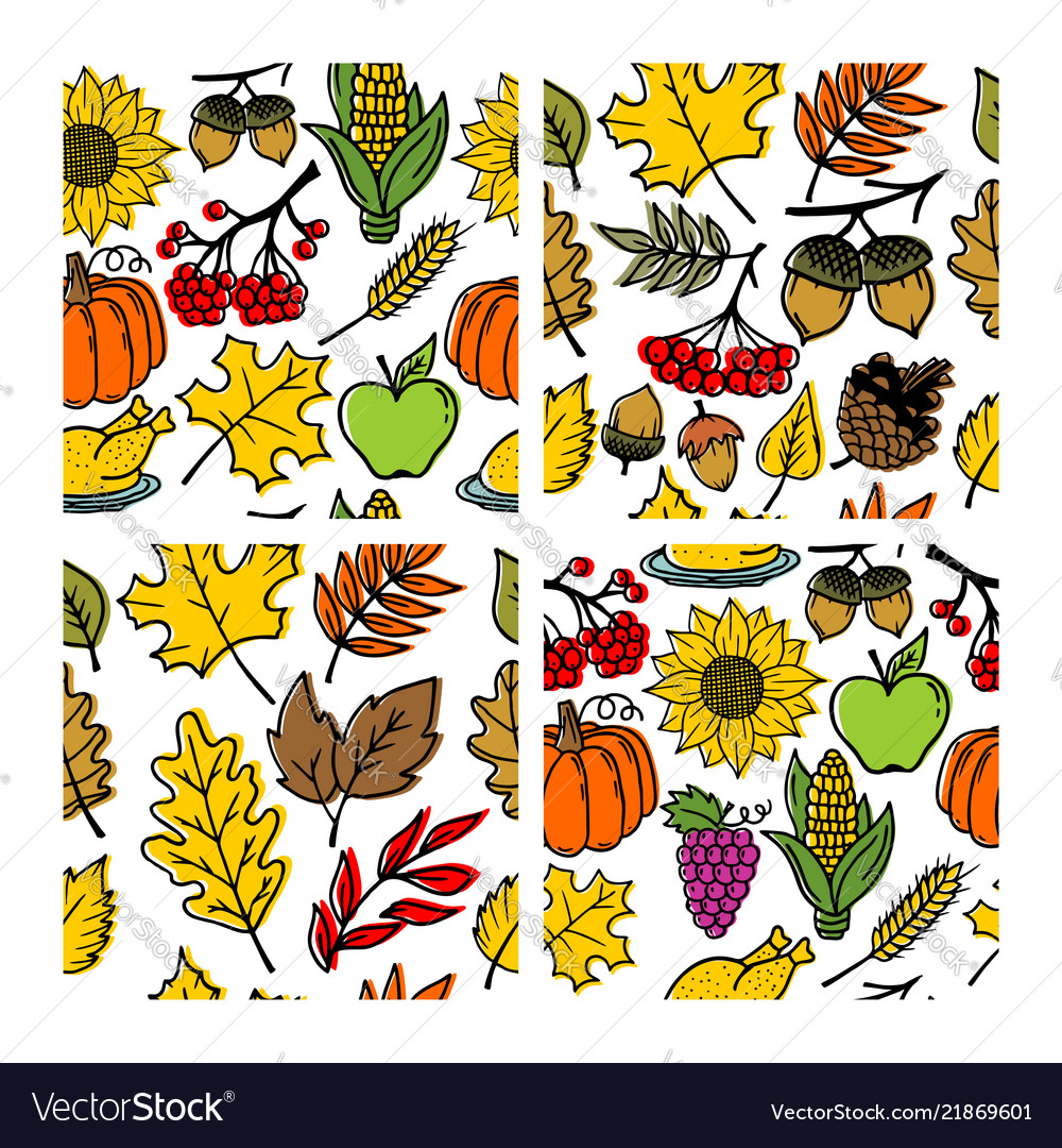 Set of seamless patterns of autumn elements