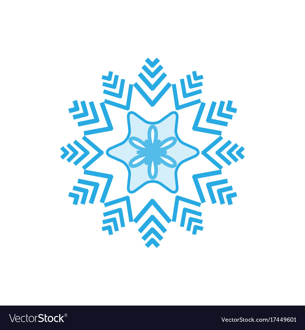 Silhouette blue snowflake on white background