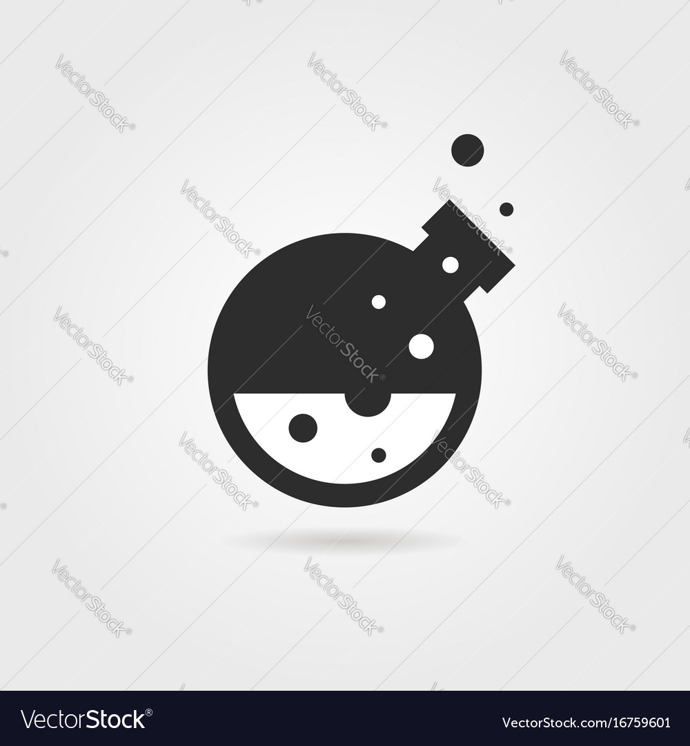 Simple black lab icon with shadow vector image