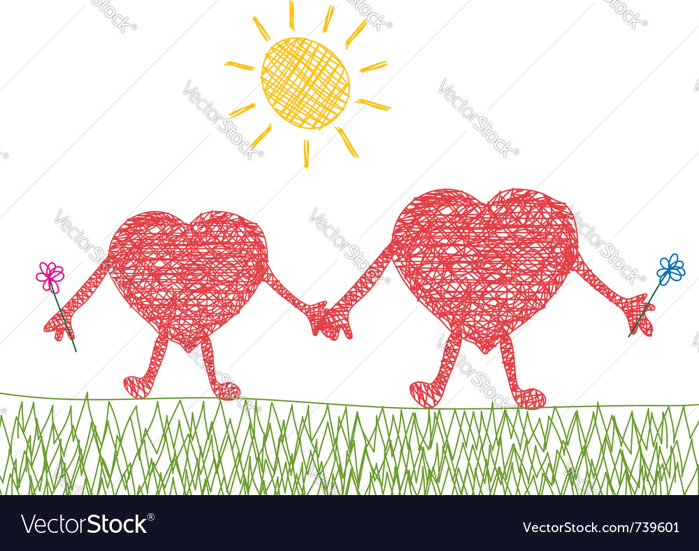 Valentine drawing of two hearts in love vector image