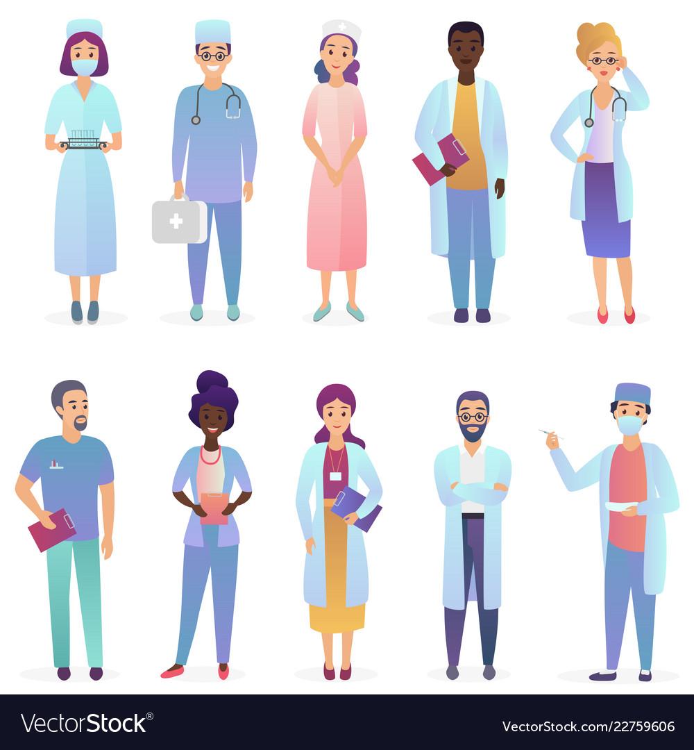 Cartoon doctors medical workers team hospital