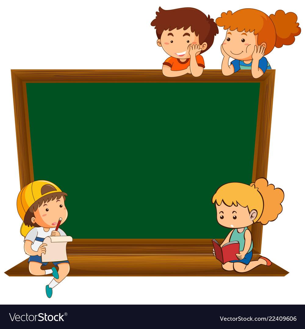 Children On Blank Chalkboard Royalty Free Vector Image