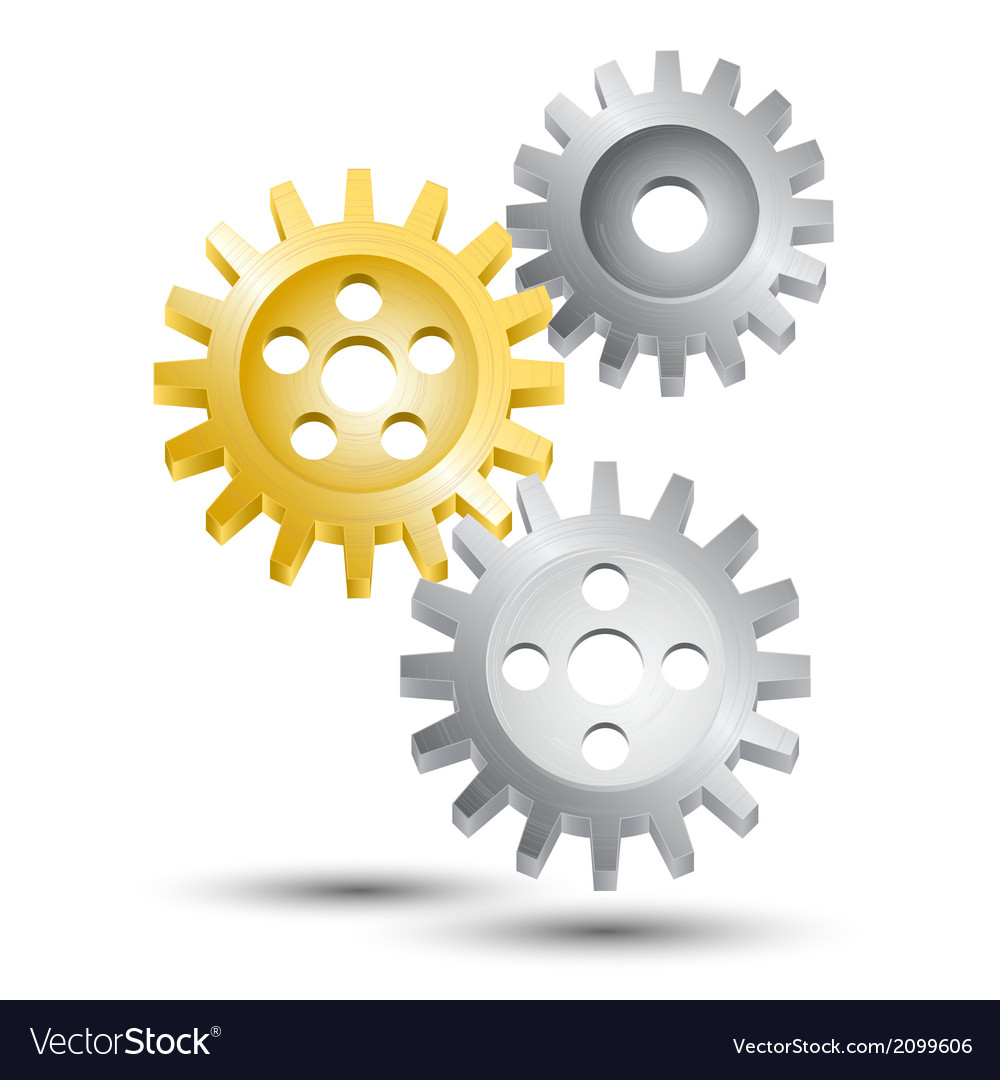 Cog wheel gear emblem vector image
