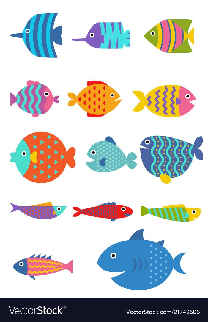 Cute fish flat set icon