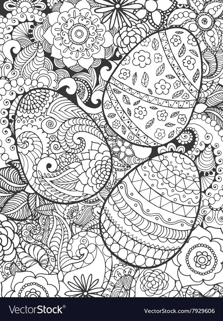 Easter eggs and flowers coloring page Royalty Free Vector