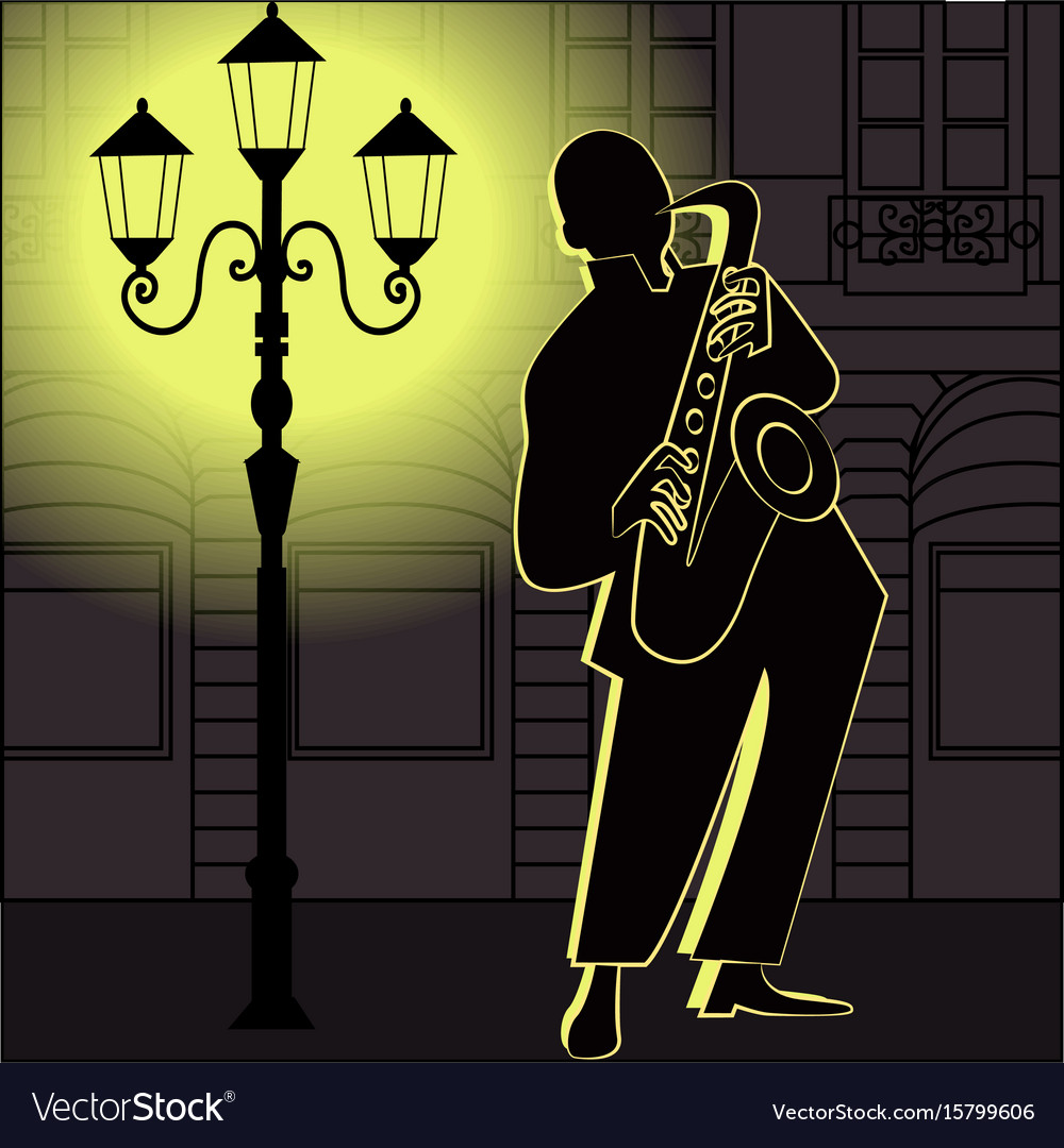 Jazz music players with trumpet saxophone