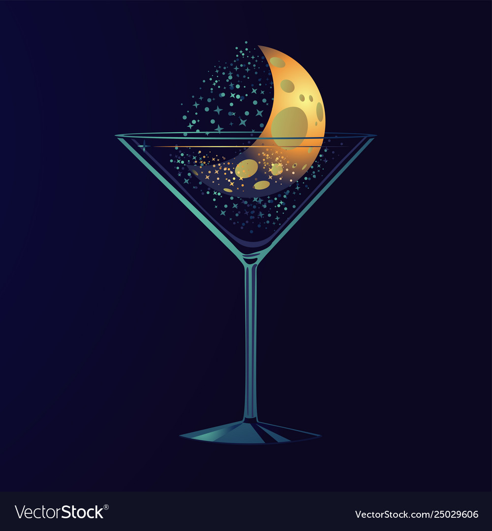 Nigth party poster with cocktail moon in a glass