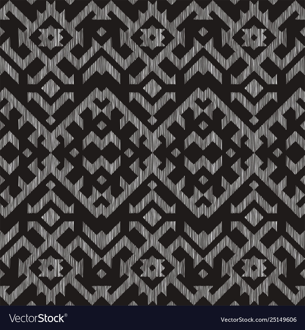 Seamless pattern with embroidery ikat ethnic