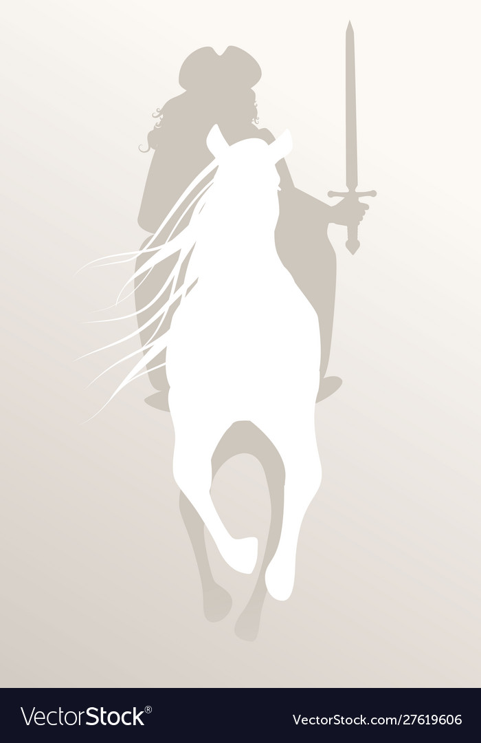 Silhouette knight riding white horse sword